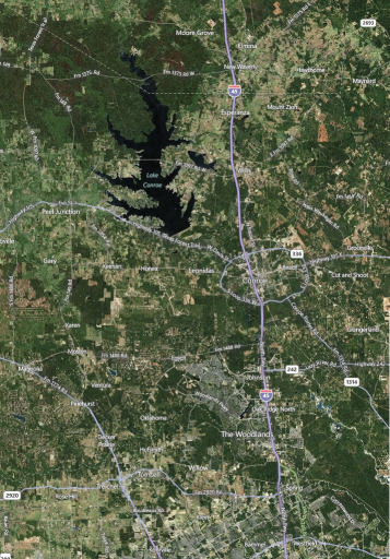 Satelite view of North Harris, Montgomery counties.